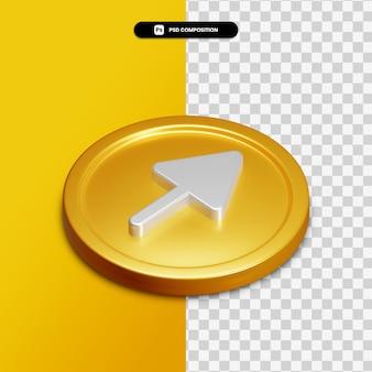 3d-rendering pijl rechts pictogram op gouden cirkel geïsoleerd