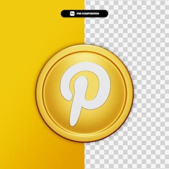 3d-rendering pinterest pictogram op gouden cirkel geïsoleerd