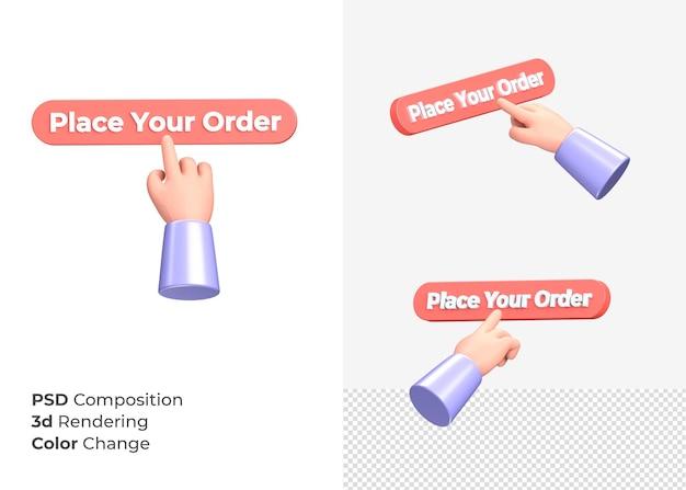 3d-rendering plaats uw bestelling cta-knop met hand concept