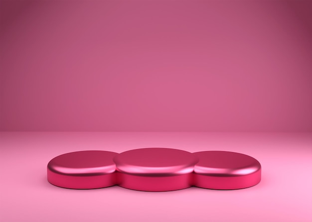 3d-rendering podium roze glanzend