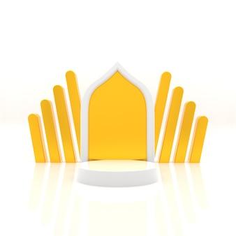 3d-rendering podium voor ramadan realistische weergave