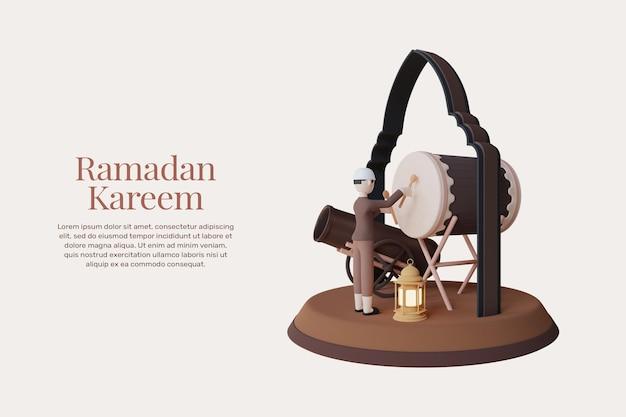 3d-rendering ramadan kareem en eid mubarak wenskaarten