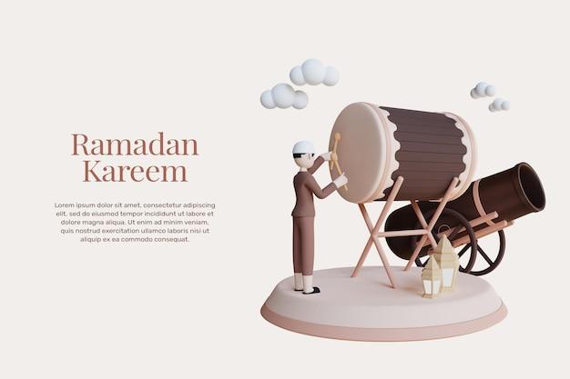 3d-rendering ramadan kareem-ontwerp