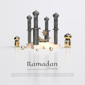 3d-rendering ramadan kareem voor sociale media