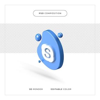 3d-rendering realistisch skype-logo