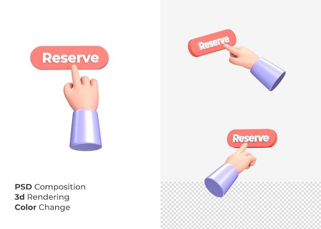 3d-rendering reserve cta-knop met hand concept