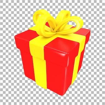 3d-rendering rode verrassing geschenkdoos met geel lint geïsoleerd Premium Psd