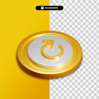 3d-rendering ronde pijlpictogram op gouden cirkel geïsoleerd