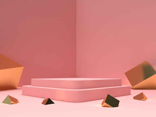 3d rendering rosa pastel y producto de oro de pie en el fondo