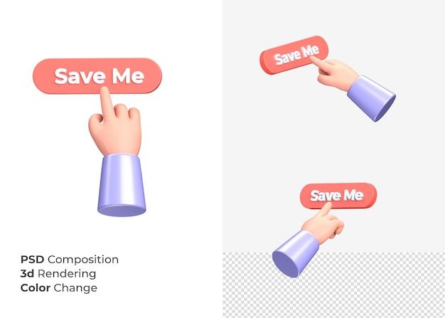 3d-rendering save me cta-knop met hand concept