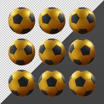 3d-rendering sequentiële goud en zwart voetbal roterend perspectief vie