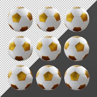 3d-rendering sequentiële gouden en witte voetbal roterende perspectiefweergave