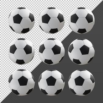 3d-rendering sequentiële zwart-wit voetbal roterende perspectief weergave