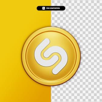 3d-rendering shazam pictogram op gouden cirkel geïsoleerd