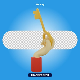 3d-rendering sleutel en hand illustratie