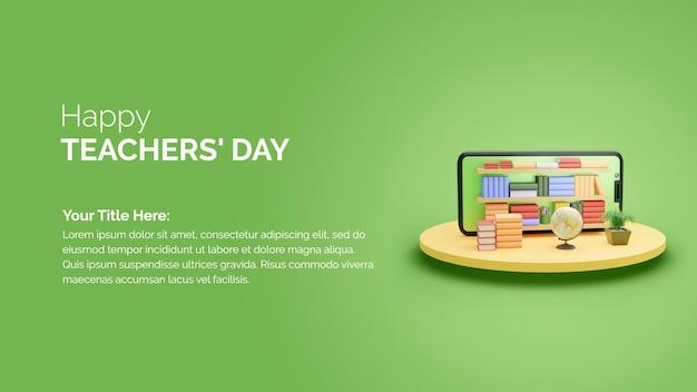 3d-rendering smartphone met boekenplank gelukkige lerarendag wensen post