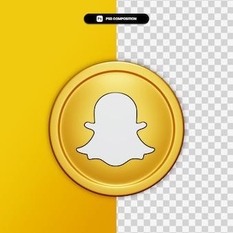 3d-rendering snapchat pictogram op gouden cirkel geïsoleerd