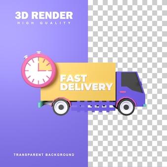 3d-rendering snel leveringsconcept voor het gemak van de klant.