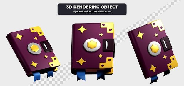 3d-rendering spellbook gebruik drie verschillende poses pictogram illustratie