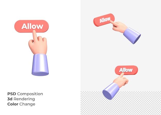 3d-rendering staat knop met hand concept toe