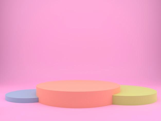 3d-rendering studio met geometrische vormen en podium op de vloer