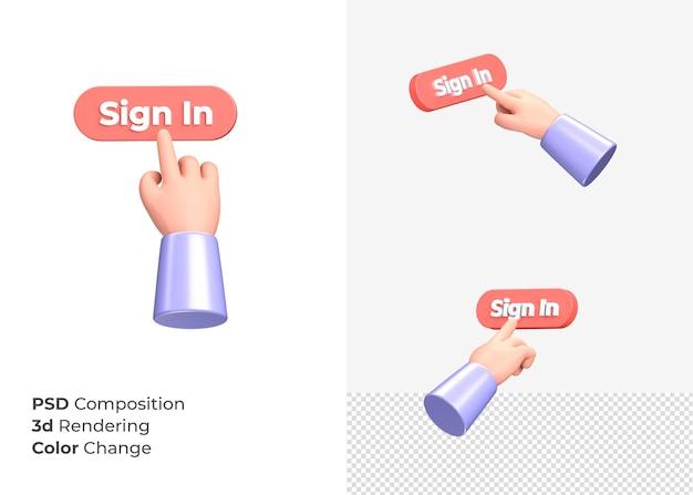 3d-rendering teken in cta-knop met hand concept
