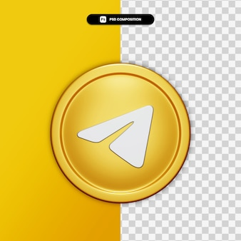 3d-rendering telegram pictogram op gouden cirkel geïsoleerd