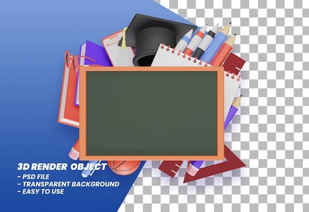 3d-rendering terug naar school illustratie premium psd
