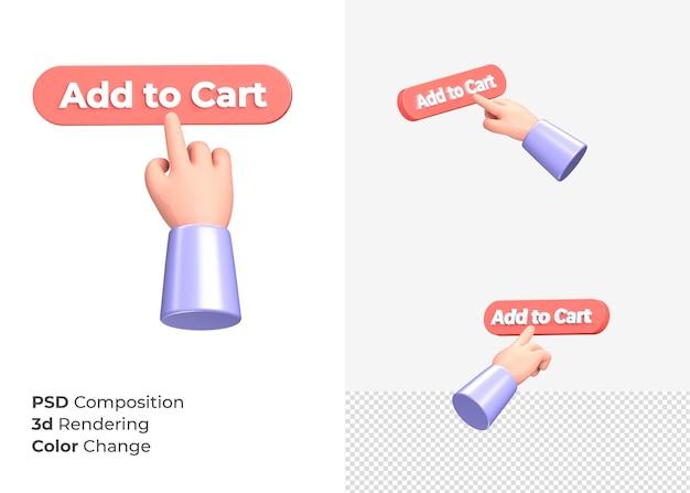 3d-rendering toevoegen aan winkelwagen cta-knop met hand concept