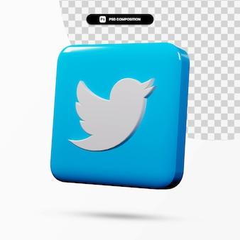 3d-rendering twitter logo applicatie geïsoleerd