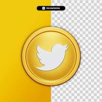 3d-rendering twitter pictogram op gouden cirkel geïsoleerd