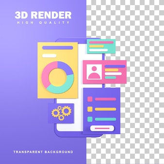 3d rendering ui ux development design concept.