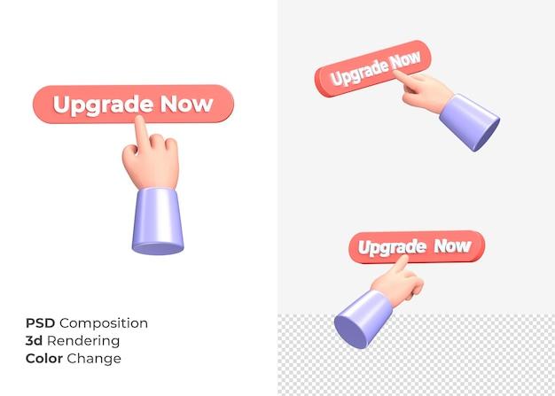 3d-rendering upgrade nu cta-knop met handconcept