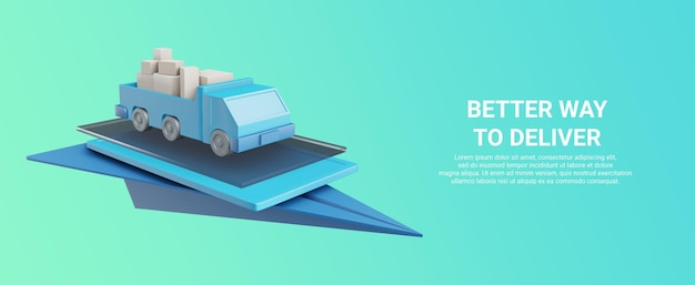 3d-rendering van vrachtwagen met goederen op een apparaat of papieren vliegtuigje