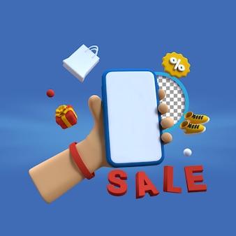 3d-rendering verkoop illustratie met hand met smartphone