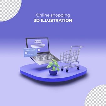 3d-rendering verkooppostsjabloon met 3d online winkelen op smartphone-apps