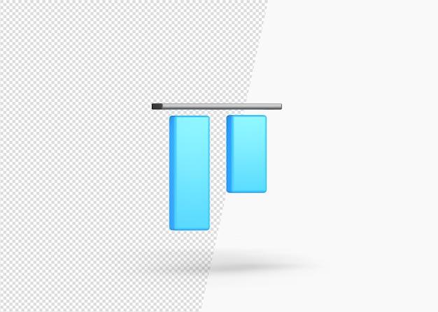 3d-rendering verticaal uitlijnen top geïsoleerd
