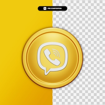 3d-rendering viber pictogram op gouden cirkel geïsoleerd