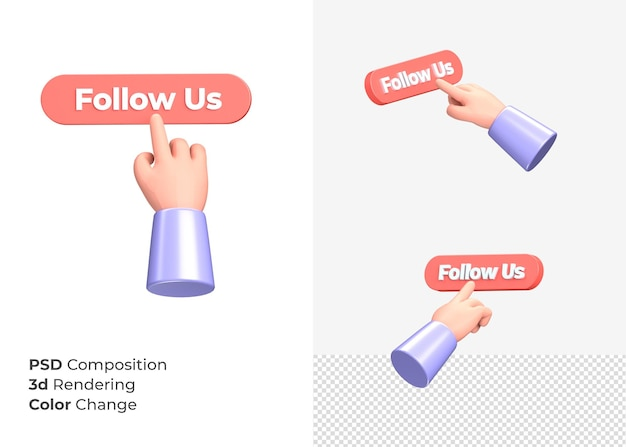 3d-rendering volg ons knop met hand concept
