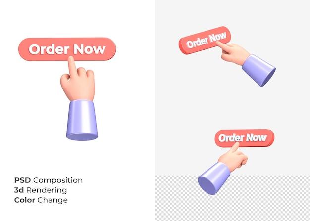 3d-rendering volgorde nu cta-knop met hand concept