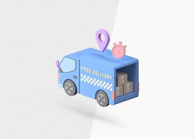 3d-rendering vrachtvervoer bestelwagen met kartonnen dozen