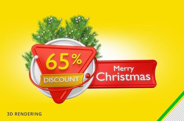 3d-rendering vrolijk kerstfeest 65 verkoop premium psd