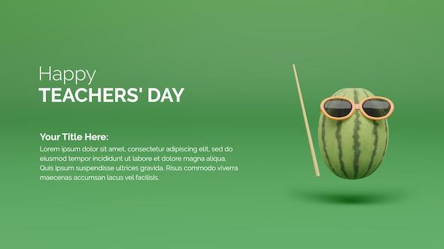 3d-rendering watermeloen met onderwijs concept happy docenten dag concep