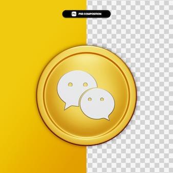 3d-rendering we chatten pictogram op gouden cirkel geïsoleerd