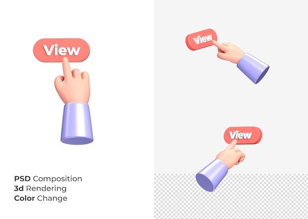 3d-rendering weergave cta-knop met hand concept