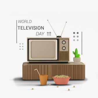 3d-rendering wereld televisie dag 2