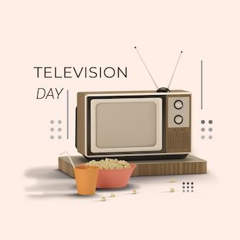 3d-rendering wereld televisiedag