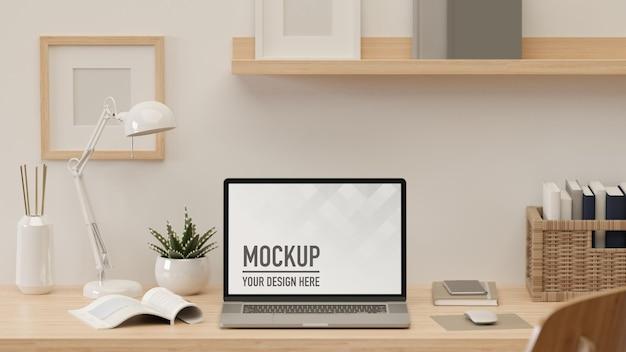 3d-rendering werkruimte met laptop lamp boeken benodigdheden