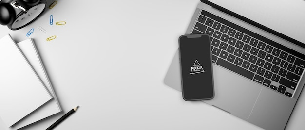 3d-rendering werkruimte met smartphone mockup