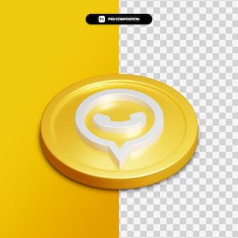 3d-rendering whatsapp-pictogram op gouden cirkel geïsoleerd